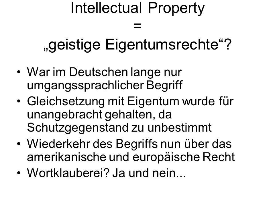 Intellectual Property = geistige Eigentumsrechte? War im Deutschen lange nur umgangssprachlicher Begriff Gleichsetzung mit Eigentum wurde für unangebr