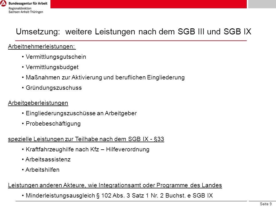 Seite 9 Umsetzung: weitere Leistungen nach dem SGB III und SGB IX Arbeitnehmerleistungen: Vermittlungsgutschein Vermittlungsbudget Maßnahmen zur Aktiv