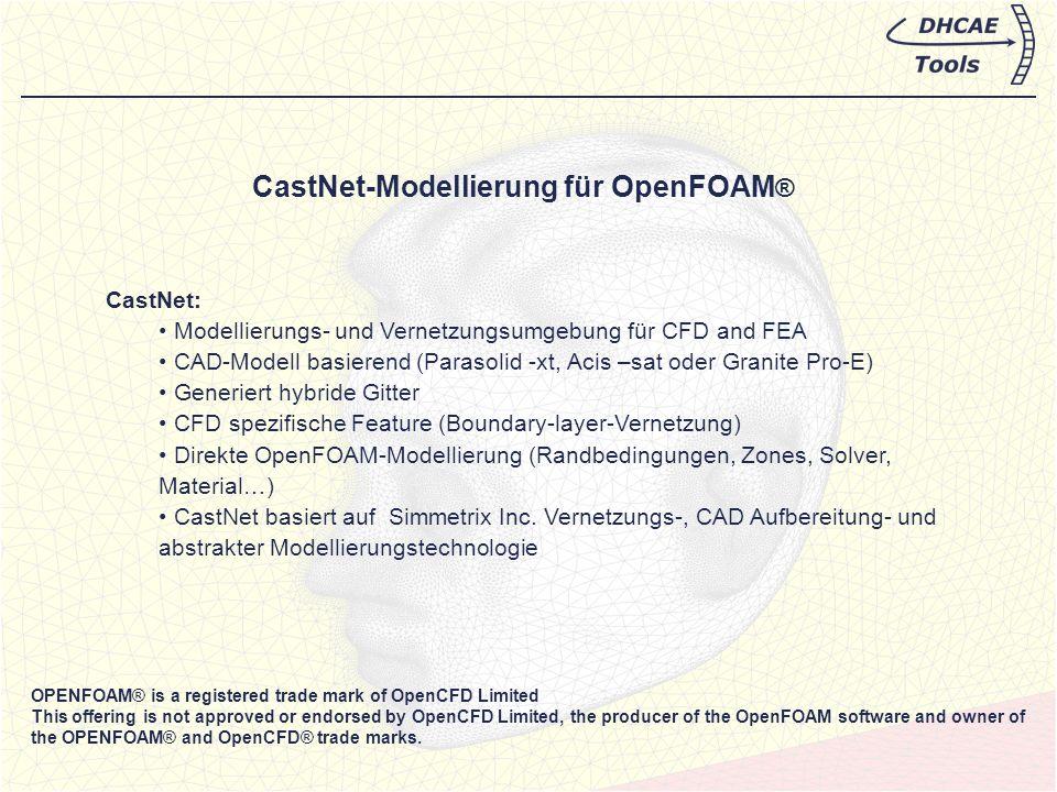Beispiel 1: CastNet Modeling für SimpleFOAM (stationär, inkompressibles Fluid) Gitter generiert in CastNet Vernetzungs-Beispiel: Extrusionswerkzeug Freundlicherweise zur Verfügung gestellt vom Institut für Kunststofftechnik, Universität Stuttgart http://www.ikt.uni-stuttgart.de