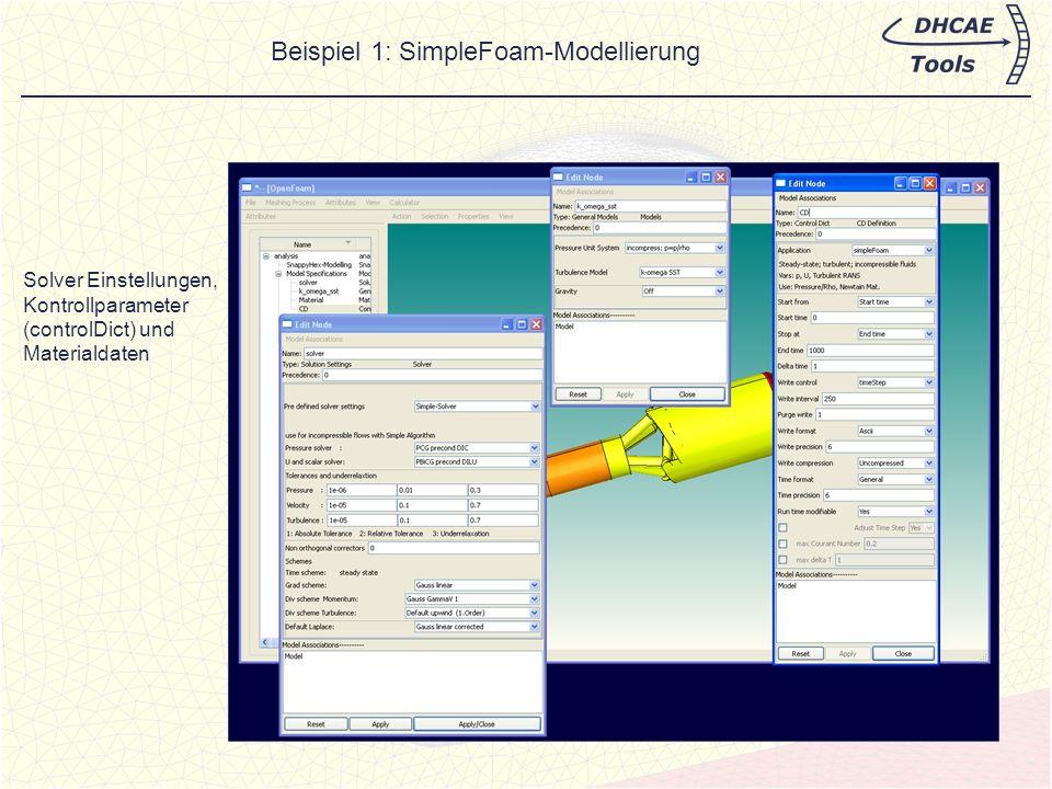 Anfangsbedingungen und Randbedingungen Option: Initialisierung mit potentialFOAM und applyBoundaryLayer für gute Startwerte Beispiel 1: SimpleFoam-Modellierung