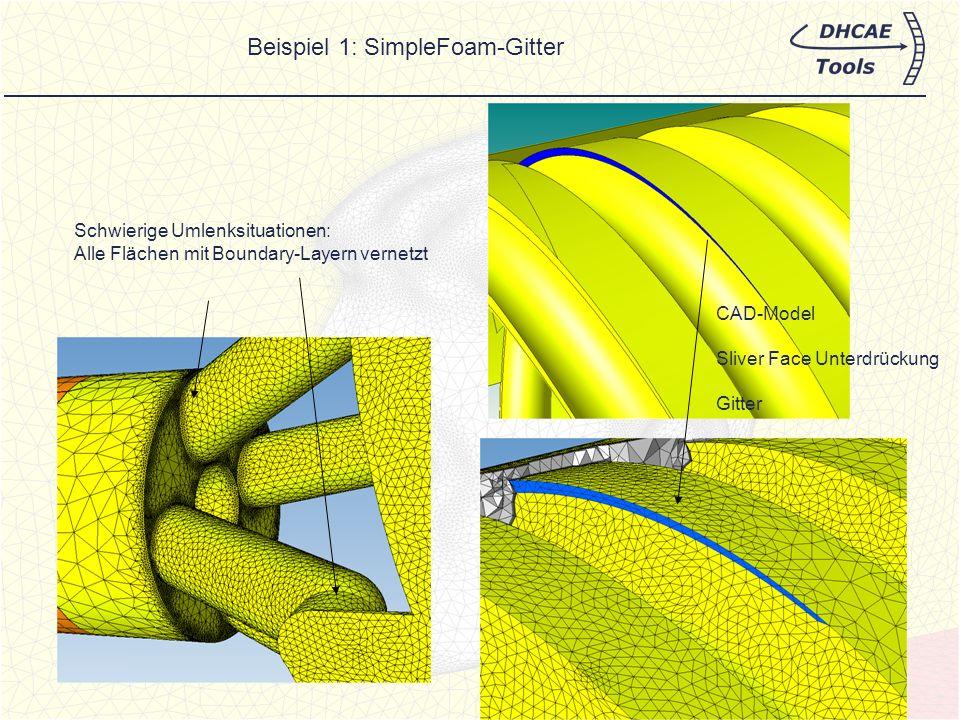Beispiel 3: InterFOAM with SnappyHexMesh-Modellierung Solver-Setup und Randbedingungsdefinition bleiben bestehen Der SnappyHex-Mesh- Calculator bestimmt die Parameter für das Hintergrundgitter Verfeinerungsflächen und Layer können einfach angewählt werden