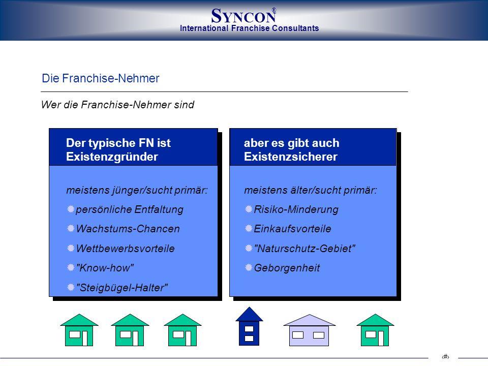 International Franchise Consultants S YNCON ® 3 Die Franchise-Nehmer Wer die Franchise-Nehmer sind Der typische FN ist Existenzgründer meistens jünger