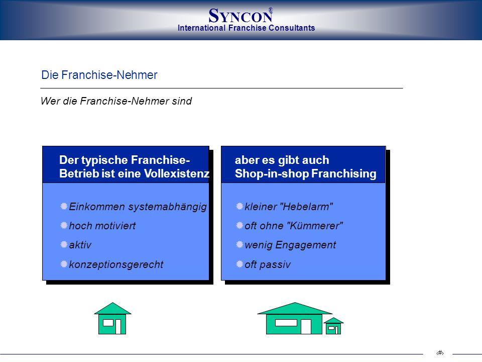 International Franchise Consultants S YNCON ® 4 Die Franchise-Nehmer Der typische Franchise- Betrieb ist eine Vollexistenz Einkommen systemabhängig ho