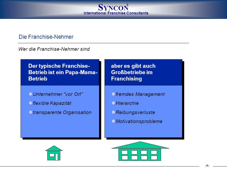 International Franchise Consultants S YNCON ® 5 Die Franchise-Nehmer Der typische Franchise- Betrieb ist ein Papa-Mama- Betrieb Unternehmer