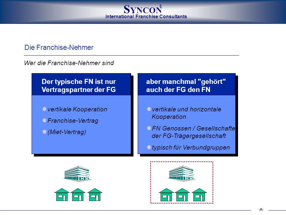 International Franchise Consultants S YNCON ® 8 Der Franchise-Nehmer (FN) ist neben dem Produkt der wichtigste Erfolgsfaktor.