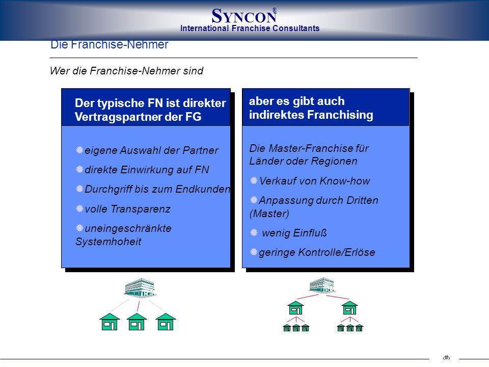 International Franchise Consultants S YNCON ® 9 Die Franchise-Nehmer Der typische FN ist direkter Vertragspartner der FG eigene Auswahl der Partner di