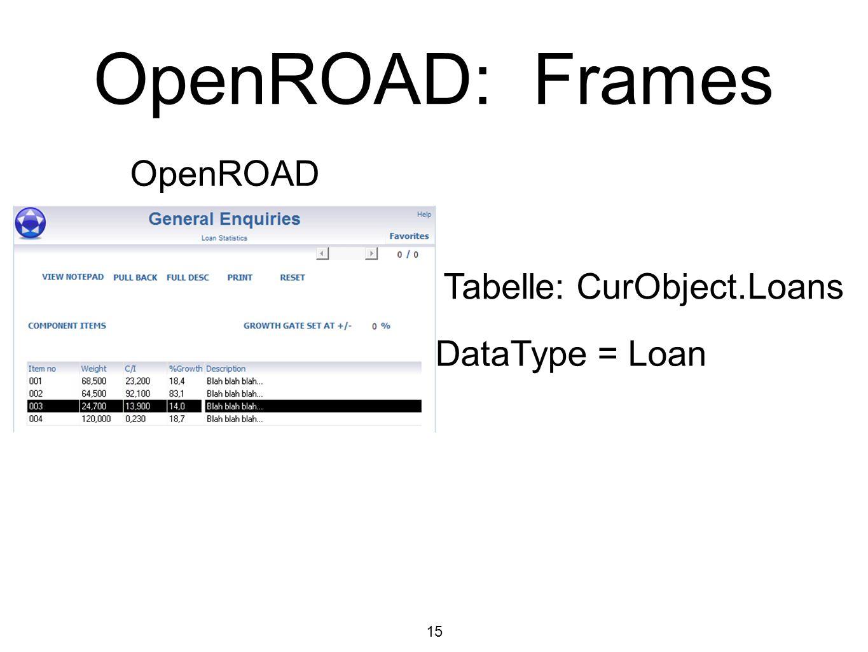 15 OpenROAD: Frames OpenROAD Tabelle: CurObject.Loans DataType = Loan