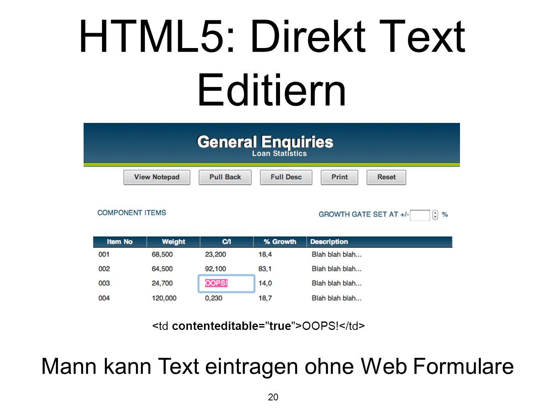20 HTML5: Direkt Text Editiern OOPS! Mann kann Text eintragen ohne Web Formulare