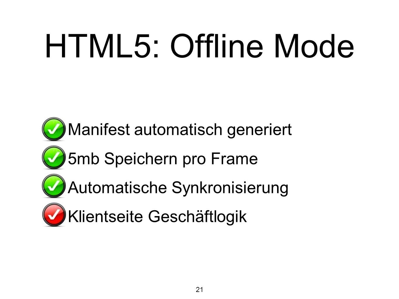 21 HTML5: Offline Mode Manifest automatisch generiert 5mb Speichern pro Frame Automatische Synkronisierung Klientseite Geschäftlogik