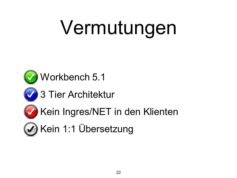 22 Vermutungen Workbench 5.1 3 Tier Architektur Kein Ingres/NET in den Klienten Kein 1:1 Übersetzung