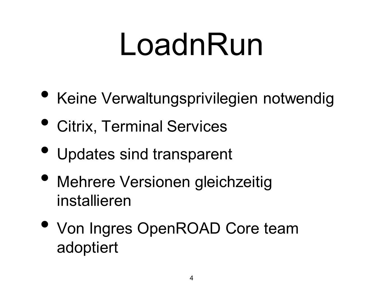 4 LoadnRun Keine Verwaltungsprivilegien notwendig Citrix, Terminal Services Updates sind transparent Mehrere Versionen gleichzeitig installieren Von I