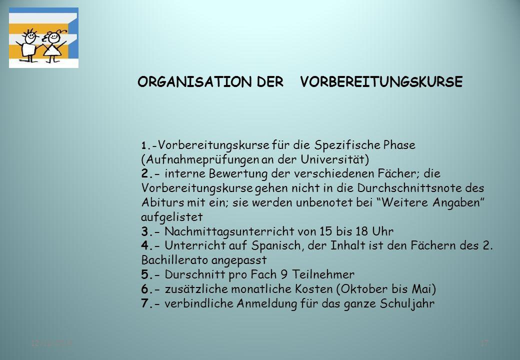 12/11/201317 ORGANISATION DER VORBEREITUNGSKURSE 1.- Vorbereitungskurse für die Spezifische Phase (Aufnahmeprüfungen an der Universität) 2.- interne B