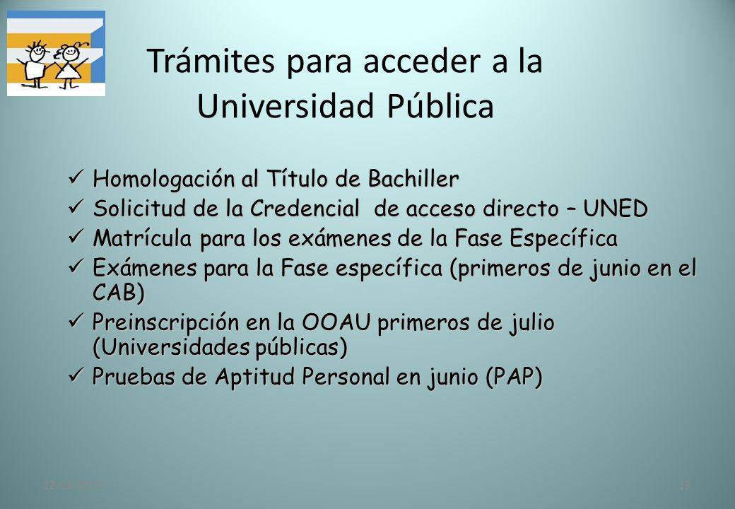 12/11/201319 Trámites para acceder a la Universidad Pública Homologación al Título de Bachiller Homologación al Título de Bachiller Solicitud de la Cr