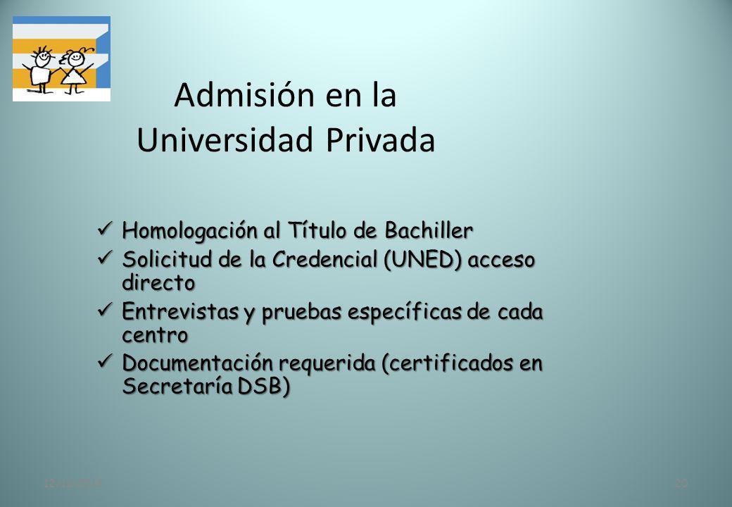 12/11/201320 Admisión en la Universidad Privada Homologación al Título de Bachiller Homologación al Título de Bachiller Solicitud de la Credencial (UN