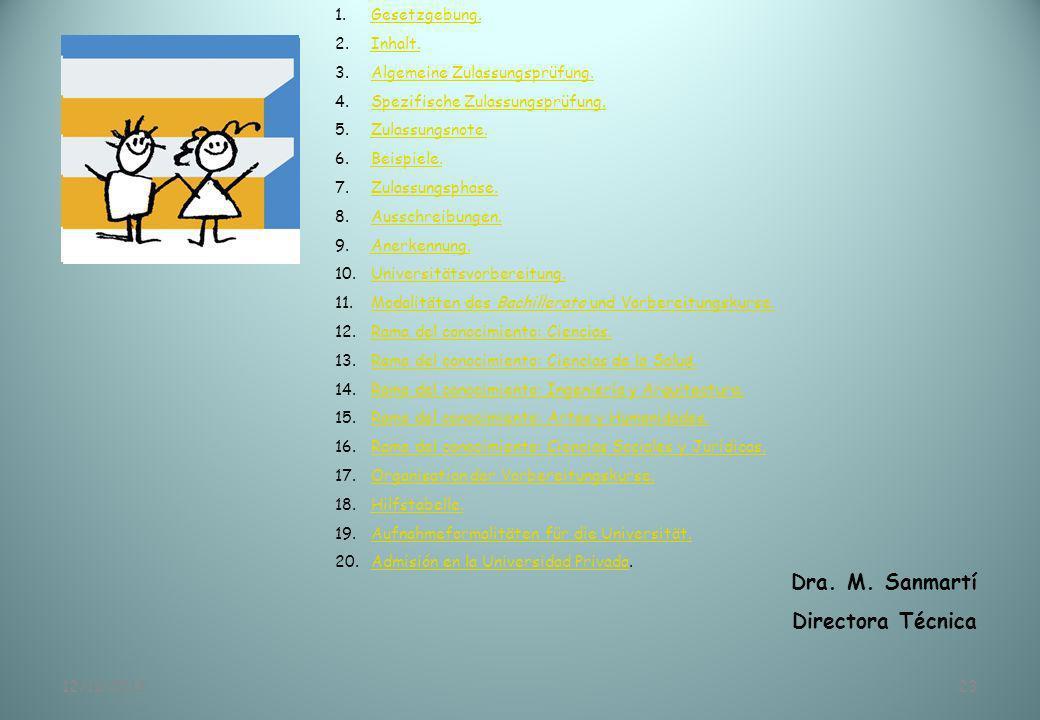 12/11/201323 Dra. M. Sanmartí Directora Técnica 1.Gesetzgebung.Gesetzgebung. 2.Inhalt.Inhalt. 3.Algemeine Zulassungsprüfung.Algemeine Zulassungsprüfun