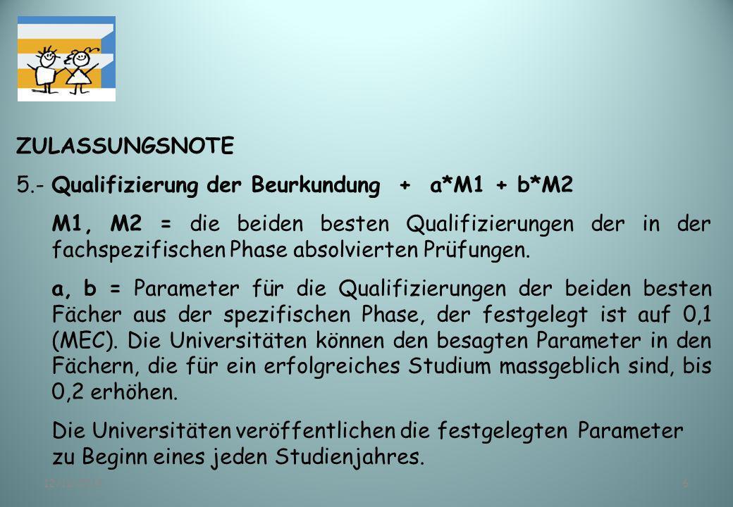 12/11/20136 ZULASSUNGSNOTE 5.-Qualifizierung der Beurkundung + a*M1 + b*M2 M1, M2 = die beiden besten Qualifizierungen der in der fachspezifischen Pha