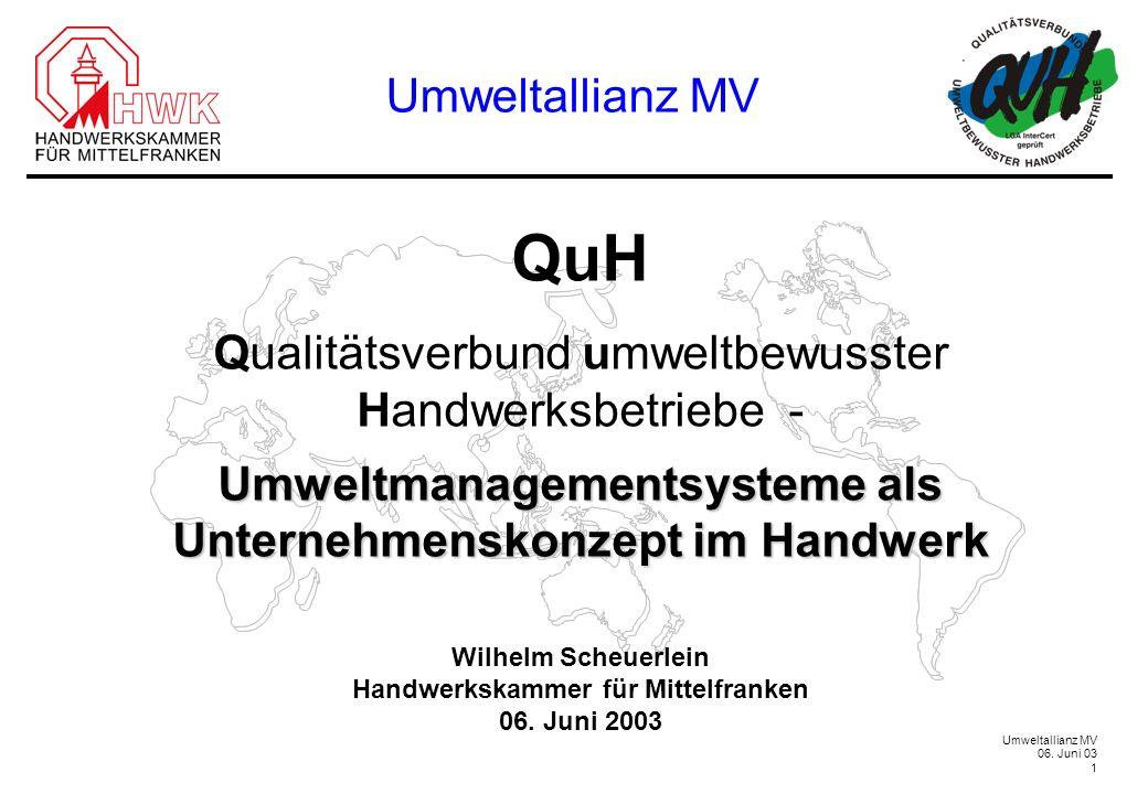 Umweltallianz MV 06. Juni 03 1 QuH Qualitätsverbund umweltbewusster Handwerksbetriebe - Umweltmanagementsysteme als Unternehmenskonzept im Handwerk Wi
