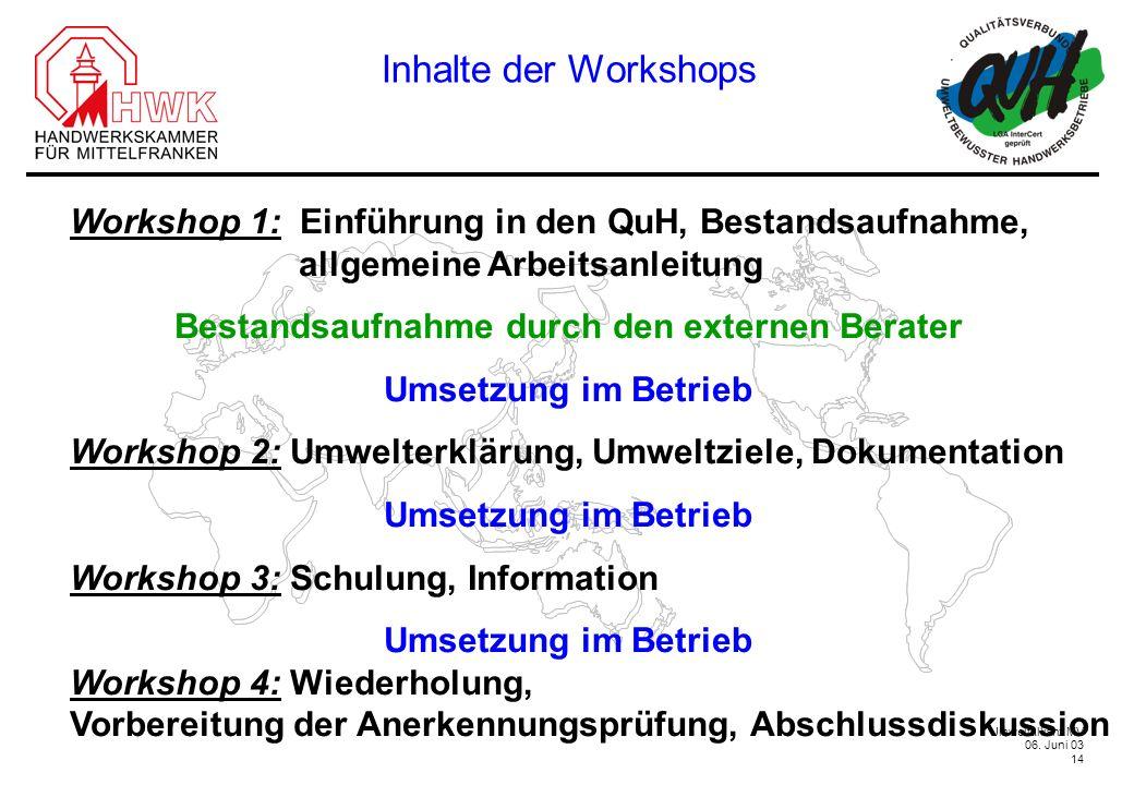 Umweltallianz MV 06. Juni 03 14 Inhalte der Workshops Workshop 1: Einführung in den QuH, Bestandsaufnahme, allgemeine Arbeitsanleitung Bestandsaufnahm