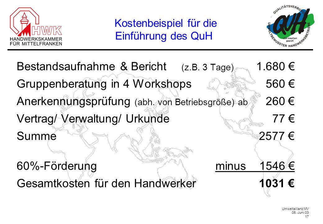 Umweltallianz MV 06. Juni 03 17 Kostenbeispiel für die Einführung des QuH Bestandsaufnahme & Bericht (z.B. 3 Tage) 1.680 Gruppenberatung in 4 Workshop