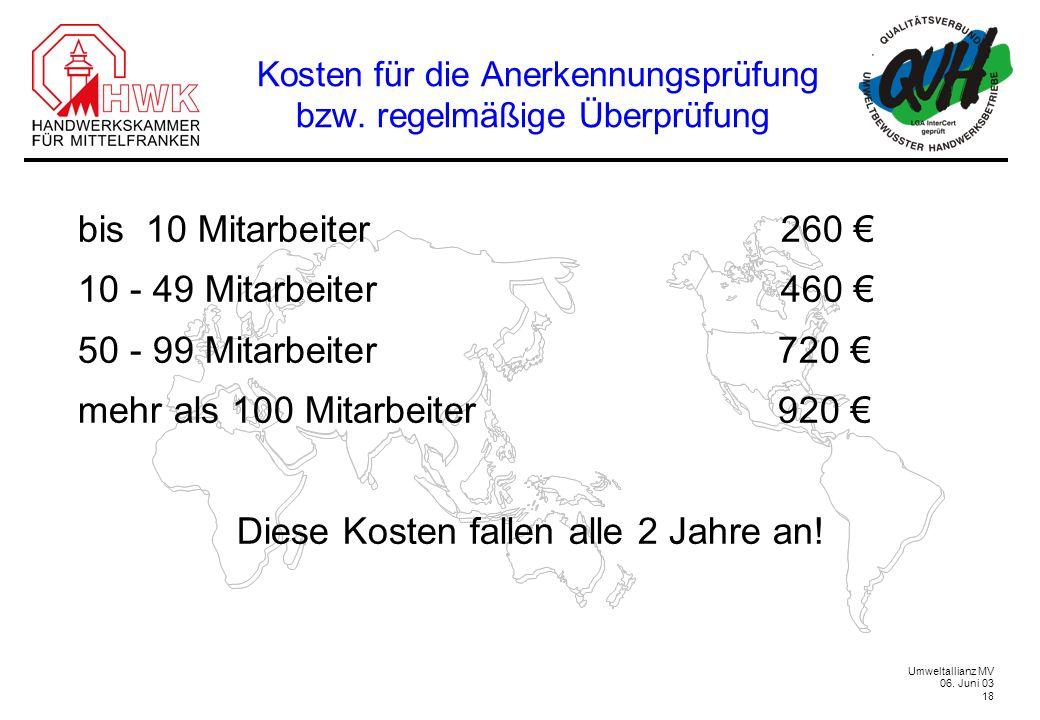 Umweltallianz MV 06. Juni 03 18 Kosten für die Anerkennungsprüfung bzw. regelmäßige Überprüfung bis 10 Mitarbeiter 260 10 - 49 Mitarbeiter 460 50 - 99