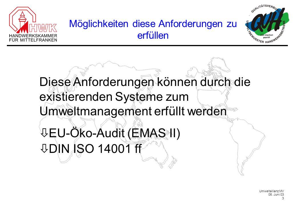 Umweltallianz MV 06. Juni 03 3 Diese Anforderungen können durch die existierenden Systeme zum Umweltmanagement erfüllt werden ò EU-Öko-Audit (EMAS II)