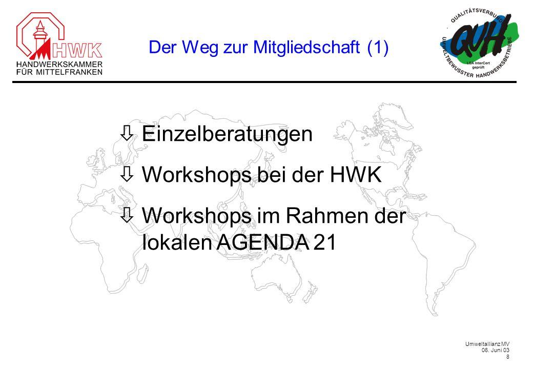 Umweltallianz MV 06. Juni 03 8 Der Weg zur Mitgliedschaft (1) Einzelberatungen Workshops bei der HWK Workshops im Rahmen der lokalen AGENDA 21