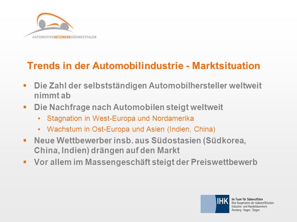 Trends in der Automobilindustrie - Marktsituation Die Zahl der selbstständigen Automobilhersteller weltweit nimmt ab Die Nachfrage nach Automobilen st