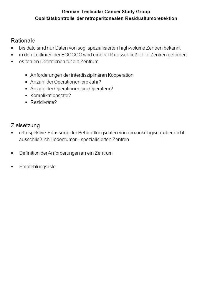 German Testicular Cancer Study Group Qualitätskontrolle der retroperitonealen Residualtumoresektion Klinik:__________________________________________ Patienteninitialen: ___ ___Alter: _____ Vorbehandlung Ablatio testis am ___.