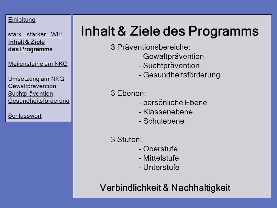 Inhalt & Ziele des Programms Einleitung stark - stärker - Wir! Inhalt & Ziele des Programms Meilensteine am NKG Umsetzung am NKG: Gewaltprävention Suc