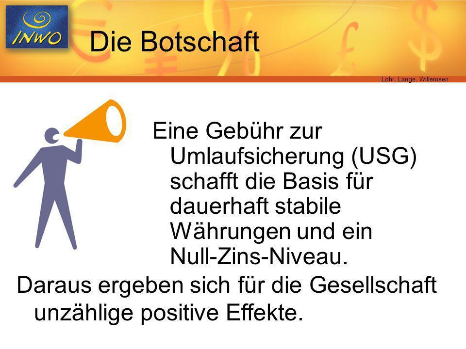 Löhr, Lange, Willemsen Die Botschaft Eine Gebühr zur Umlaufsicherung (USG) schafft die Basis für dauerhaft stabile Währungen und ein Null-Zins-Niveau.
