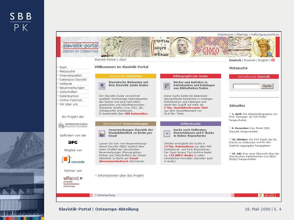 18. Mail 2009 |Slavistik-Portal | Osteuropa-AbteilungS. 4