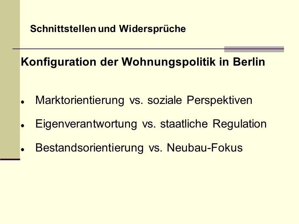 Schnittstellen und Widersprüche Konfiguration der Wohnungspolitik in Berlin Marktorientierung vs. soziale Perspektiven Eigenverantwortung vs. staatlic