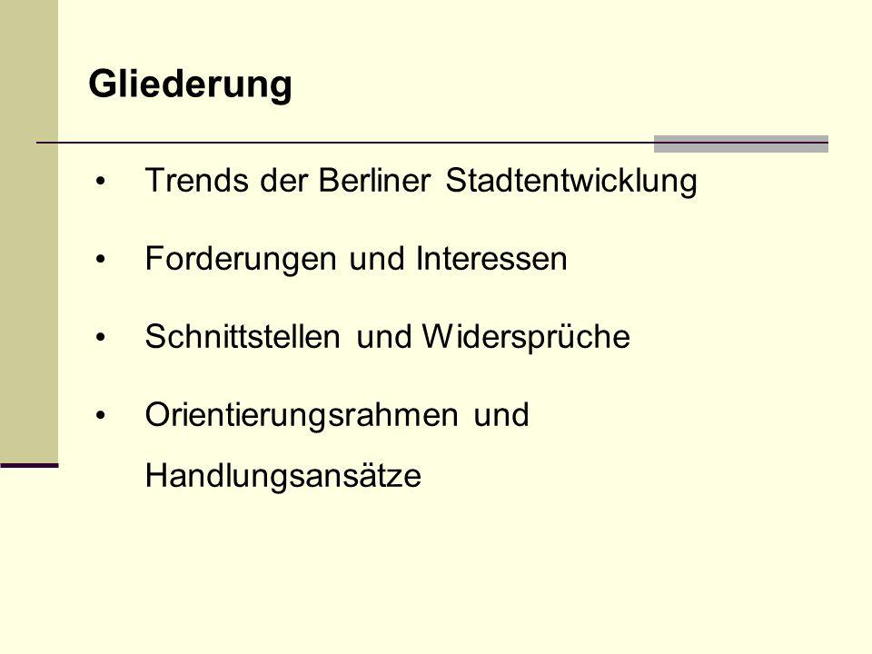 Gliederung Trends der Berliner Stadtentwicklung Forderungen und Interessen Schnittstellen und Widersprüche Orientierungsrahmen und Handlungsansätze
