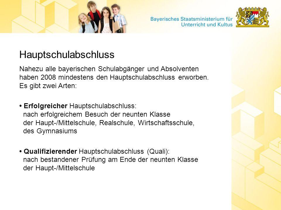 Hauptschulabschluss Nahezu alle bayerischen Schulabgänger und Absolventen haben 2008 mindestens den Hauptschulabschluss erworben. Es gibt zwei Arten: