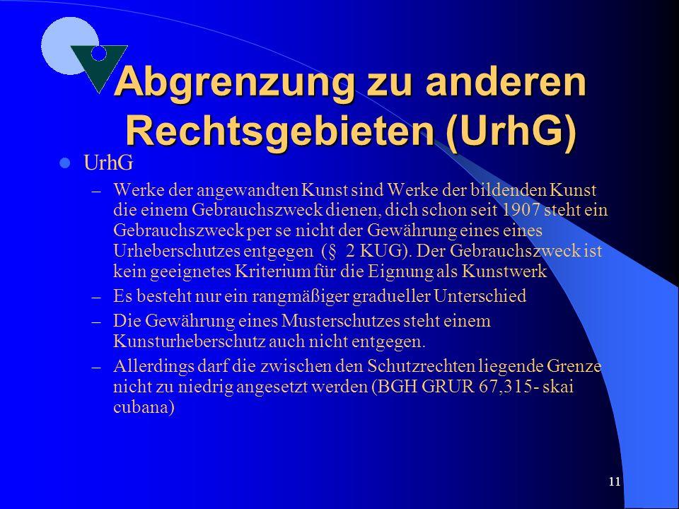 10 Abgrenzung zu anderen Rechtsgebieten (BGB) BGB: – z.T. speziell in Bezug genommen etwa für die Regelung von Schadensersatz, Vorsatz und Fahrlässigk