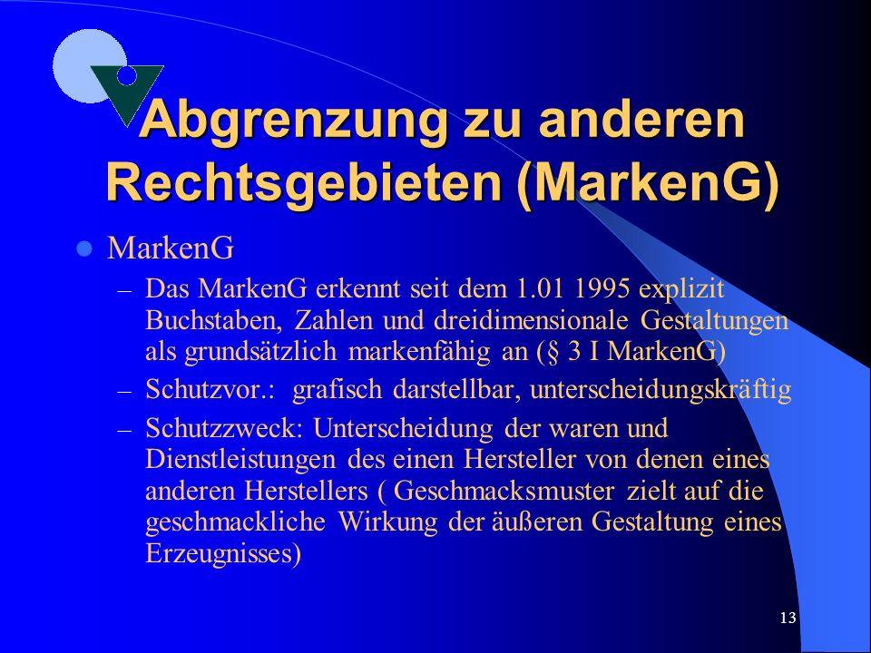 12 Abgrenzung zu anderen Rechtsgebieten (Schriftzeichen) Recht der typografischen Schriftzeichen – SchriftzeichenG von 1981 setzt Wiener Abkommen von1