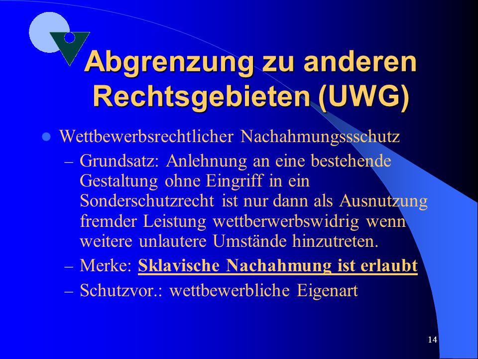 13 Abgrenzung zu anderen Rechtsgebieten (MarkenG) MarkenG – Das MarkenG erkennt seit dem 1.01 1995 explizit Buchstaben, Zahlen und dreidimensionale Ge