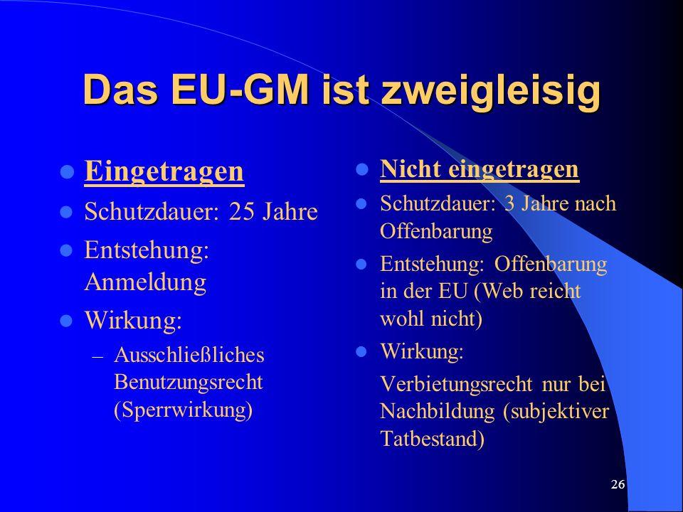 25 Das EU-Geschmacksmuster 1990 Entwurf des Max Planck Instituts 1994 Vorschläge der EU Kommission 12.12.2001 amtlich bekanntgemacht 6.März 2002 in Kr