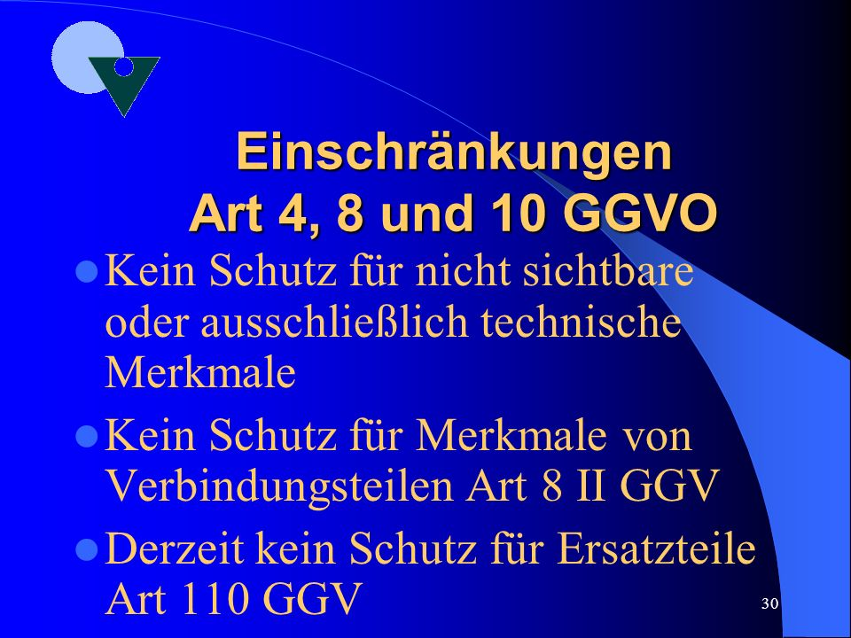 29 Schutzumfang Art. 10 GGV Umfasst jedes Geschmacksmuster, das beim informierten Benutzer keinen anderen Gesamteindruck hervorruft