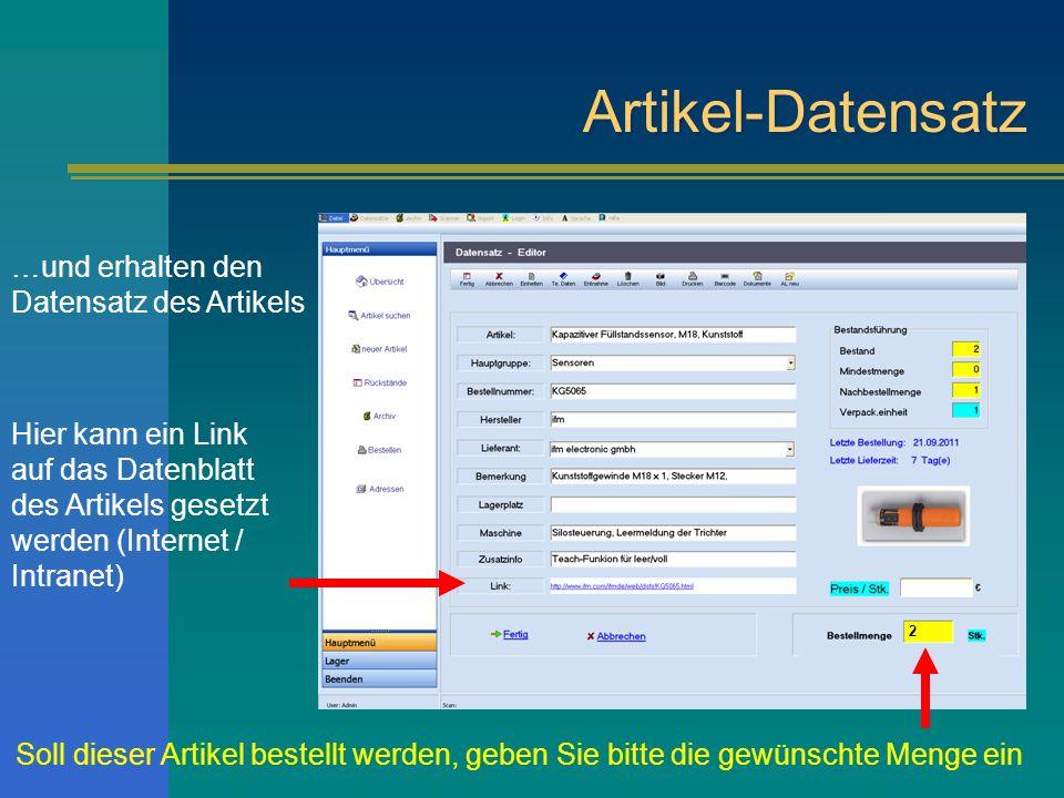 Artikel-Datensatz …und erhalten den Datensatz des Artikels Hier kann ein Link auf das Datenblatt des Artikels gesetzt werden (Internet / Intranet) Sol