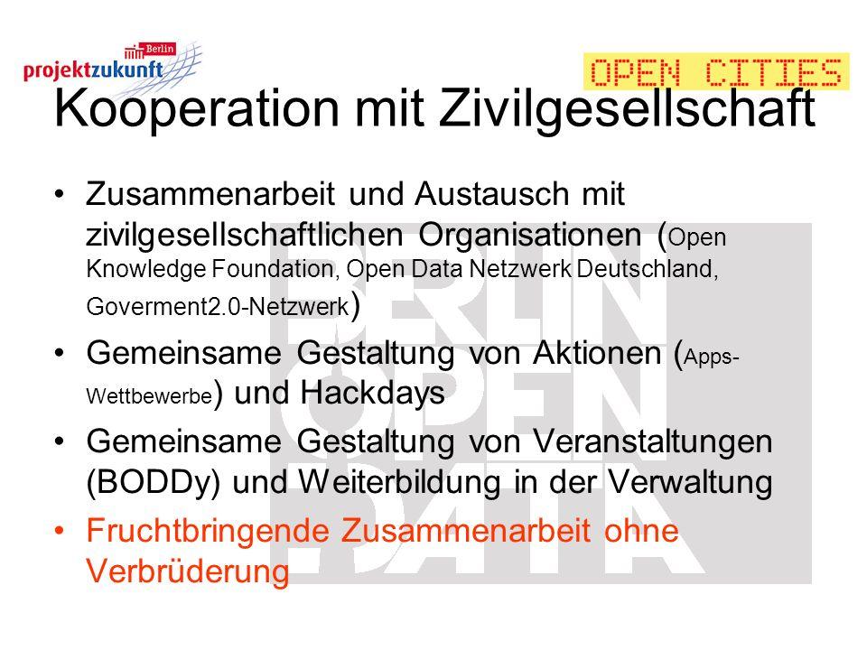 Kooperation mit Zivilgesellschaft Zusammenarbeit und Austausch mit zivilgesellschaftlichen Organisationen ( Open Knowledge Foundation, Open Data Netzw