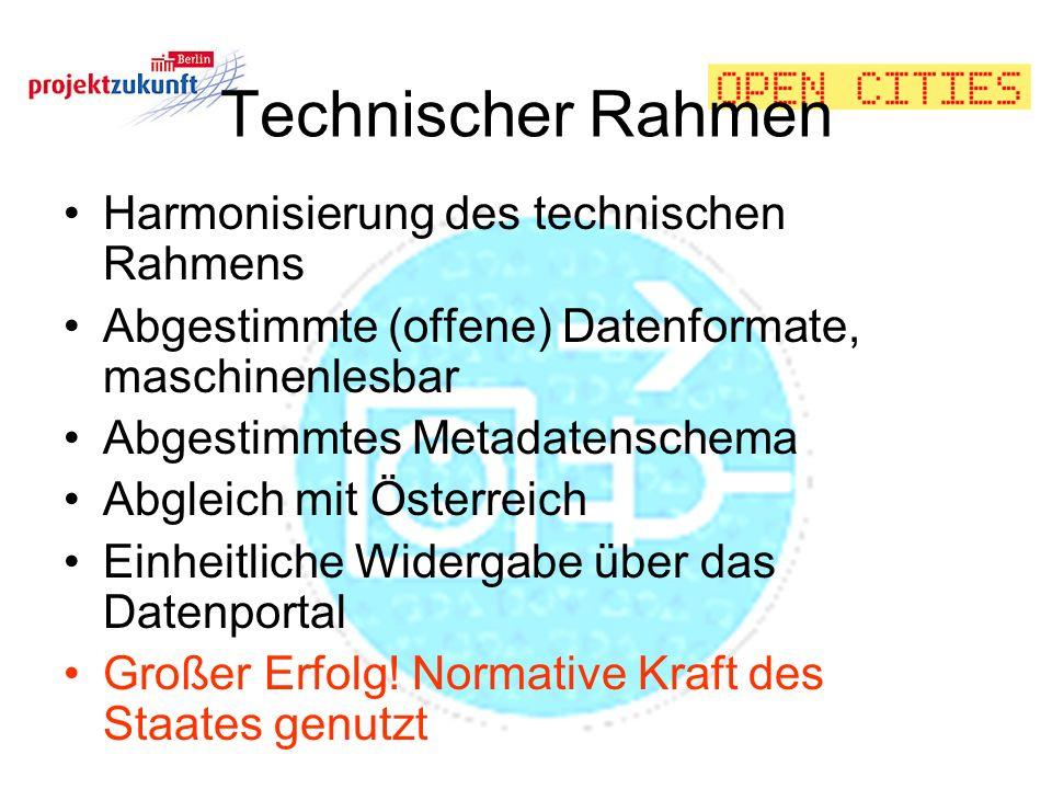 Technischer Rahmen Harmonisierung des technischen Rahmens Abgestimmte (offene) Datenformate, maschinenlesbar Abgestimmtes Metadatenschema Abgleich mit