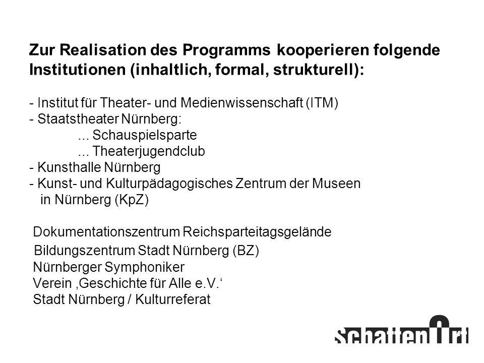 Zur Realisation des Programms kooperieren folgende Institutionen (inhaltlich, formal, strukturell): - Institut für Theater- und Medienwissenschaft (IT