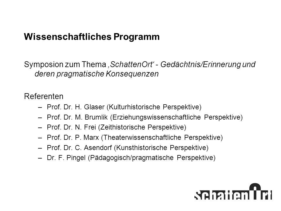 Wissenschaftliches Programm Symposion zum Thema SchattenOrt - Gedächtnis/Erinnerung und deren pragmatische Konsequenzen Referenten –Prof. Dr. H. Glase