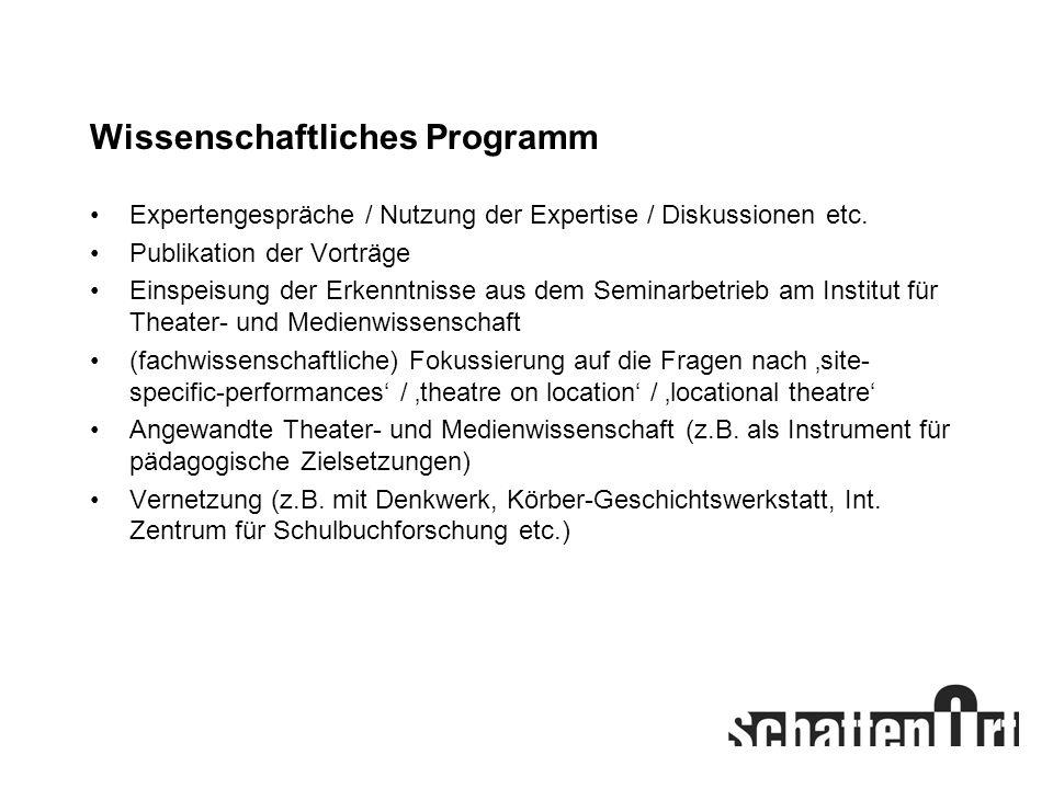 Wissenschaftliches Programm Expertengespräche / Nutzung der Expertise / Diskussionen etc. Publikation der Vorträge Einspeisung der Erkenntnisse aus de