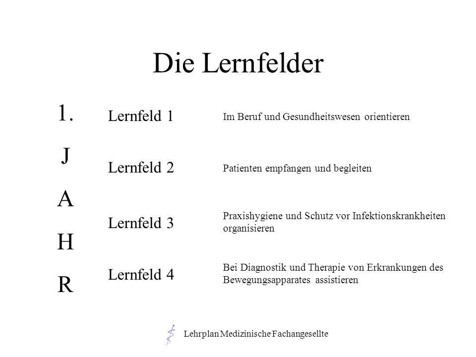 Lehrplan Medizinische Fachangesellte Die Lernfelder 1. J A H R Lernfeld 1 Lernfeld 2 Lernfeld 3 Lernfeld 4 Im Beruf und Gesundheitswesen orientieren P