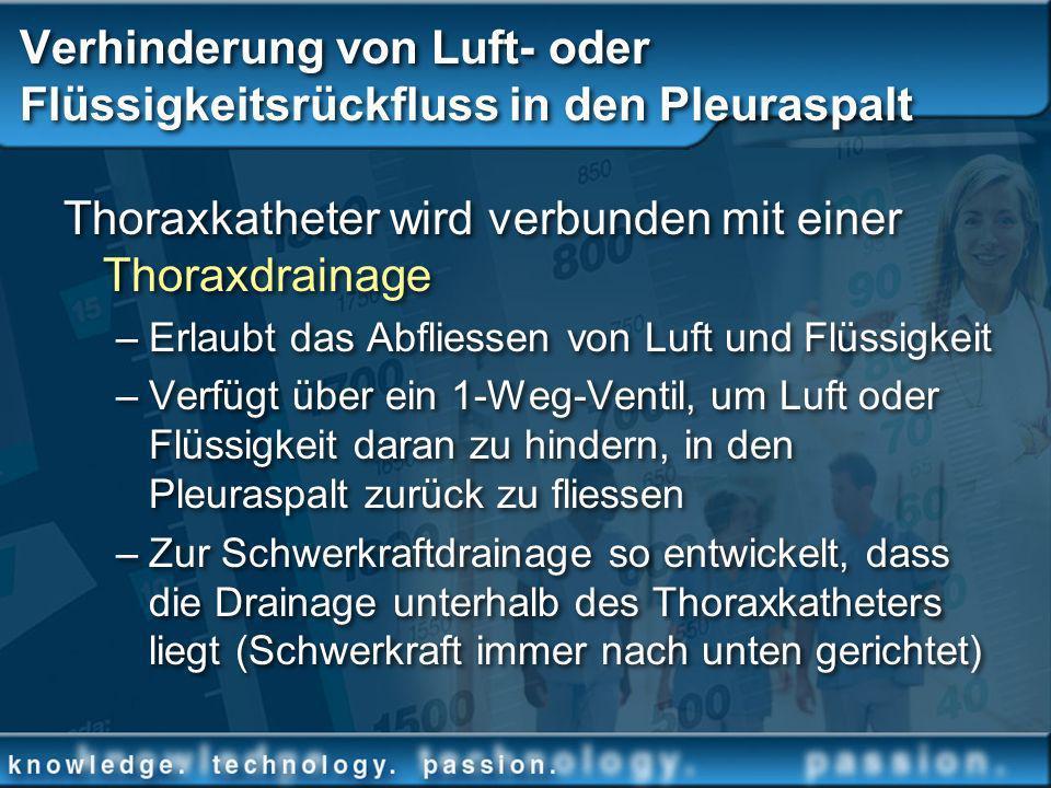 Verhinderung von Luft- oder Flüssigkeitsrückfluss in den Pleuraspalt Thoraxkatheter wird verbunden mit einer Thoraxdrainage –Erlaubt das Abfliessen vo