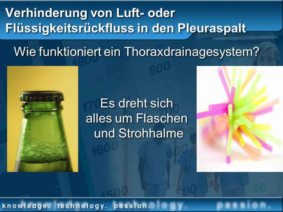 Verhinderung von Luft- oder Flüssigkeitsrückfluss in den Pleuraspalt Wie funktioniert ein Thoraxdrainagesystem? Es dreht sich alles um Flaschen und St