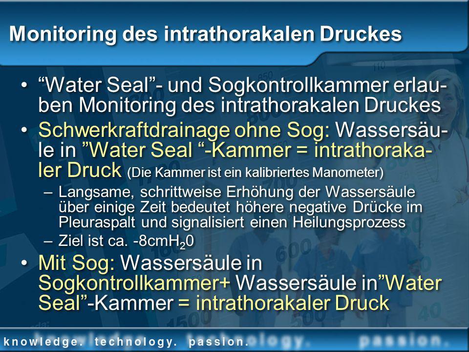 Monitoring des intrathorakalen Druckes Water Seal- und Sogkontrollkammer erlau- ben Monitoring des intrathorakalen Druckes Schwerkraftdrainage ohne So