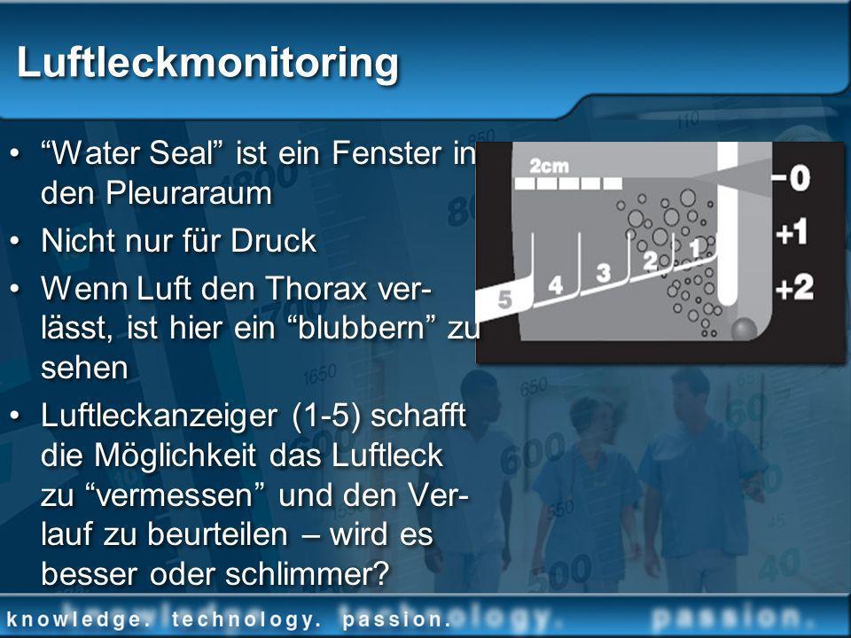 Luftleckmonitoring Water Seal ist ein Fenster in den Pleuraraum Nicht nur für Druck Wenn Luft den Thorax ver- lässt, ist hier ein blubbern zu sehen Lu